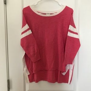 J.Crew Pink and White Stripes 3/4 Sleeve Tee